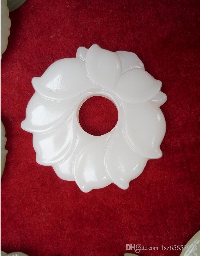 Wholesale Jade Flower White Jade Pendants for Jewelry necklace man and Womens jewelry Natural Jade Flower A11S1S30