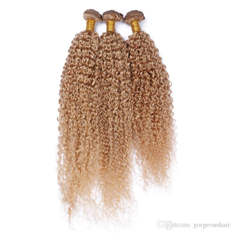 Кудрявый вьющиеся бразильские девственные волосы уток расширения клубника блондинка 3 пучки двойной уток 10-30