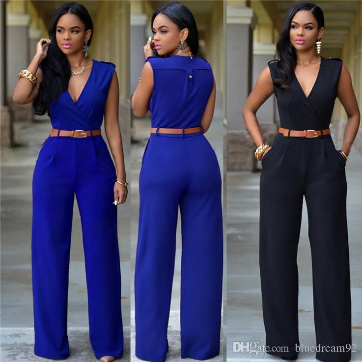 045d06dee84 2019 High Waist Plus Size Jumpsuits Rompers Bodysuit For Women V Neck Wide  Leg Jumpsuit Irregular Designer With Belt Womens Bodysuits 15 Colour From  ...