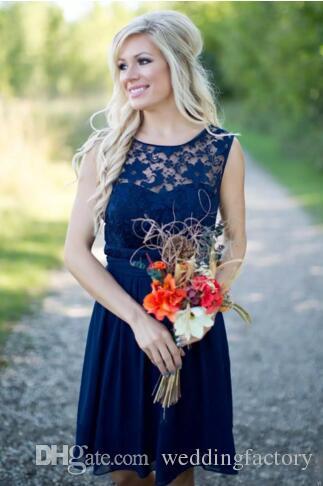 Country Neueste Königsblau kurze Brautjungfer Kleider für Hochzeit Chiffon Lace Günstige Backless Knielänge Mädchen Ehrenkleider