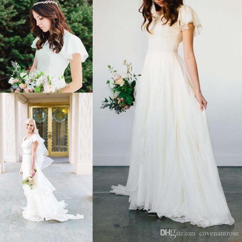 Discount Modest Flowy Chiffon Wedding Dresses 2017 Beach Short ...