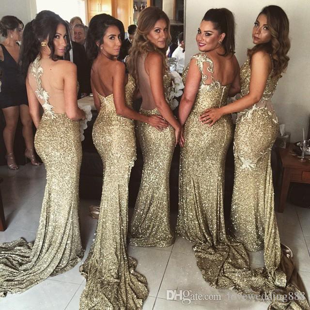 Wear brilhante lantejoulas sereia Vestidos dama de honra Side Dividir Sheer Voltar Convertible Estilo de convidados do casamento Prom Dress Longo Partido
