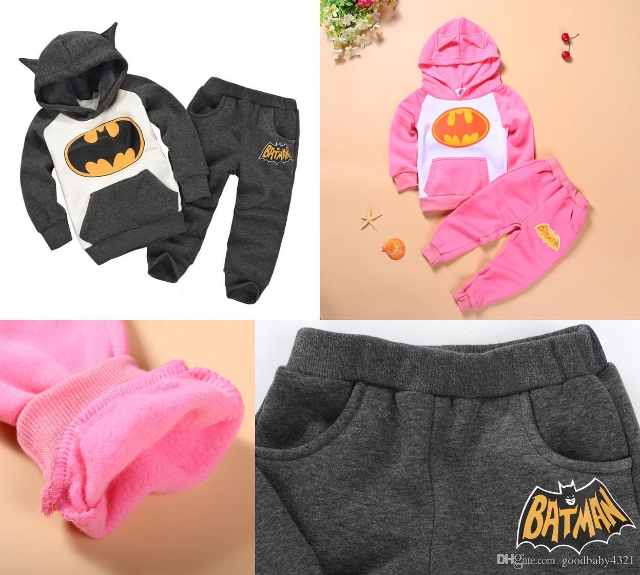 4ec972175 2018 Kids Cartoon Suit Hooded Batman Sets Cotton Thick Clothing Set ...