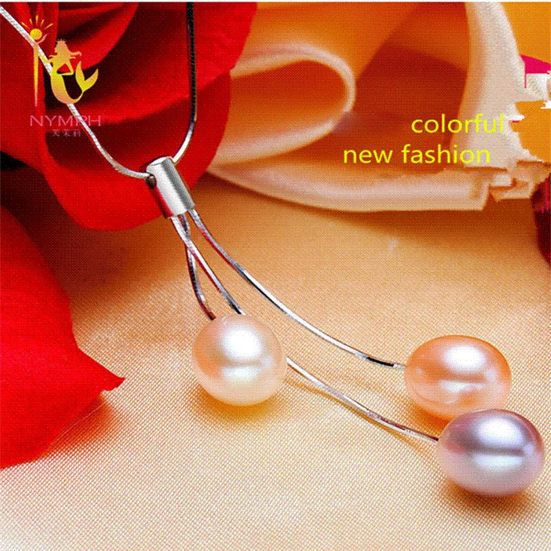 [NYMPH] 925-Sterling-Silver Pearl Jewelry Natural Fresh Water Pearl Necklace Pendants Fine Jewelry For Women P08 wholesale