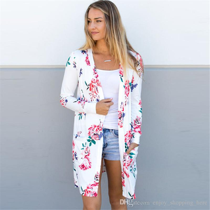 Women Knit Cardigan long sleeves flower printed with pocket spring autumn pink blue white thin sweater coat capes plus size S - 3XL