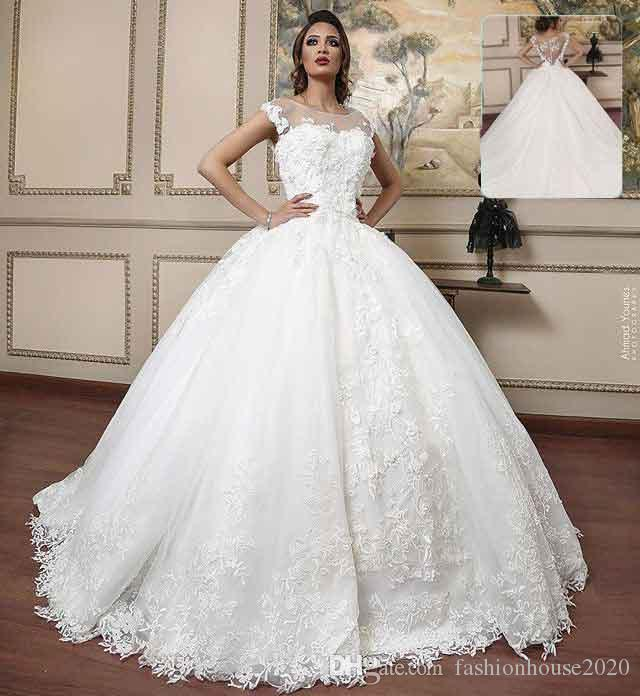 Unique Ivory Lace Ball Gown Wedding Dresses Cap Sleeves Scoop Neck ...