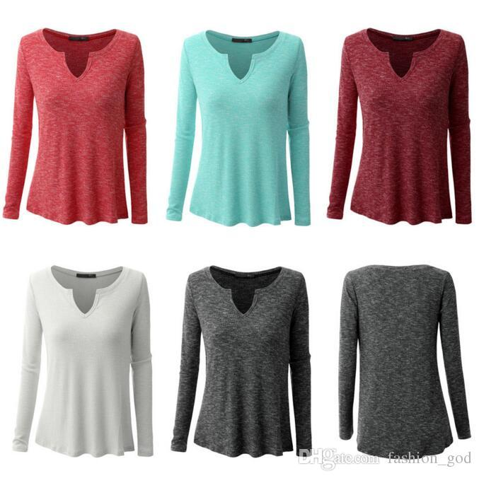 af6795c291b Plus Size Long Sleeve Shirt Cotton Summer T Shirts Fashion Casual Tops  Loose Female Blouse Sexy Tees Solid Knitwear Women S Clothing B2443 On T  Shirt ...