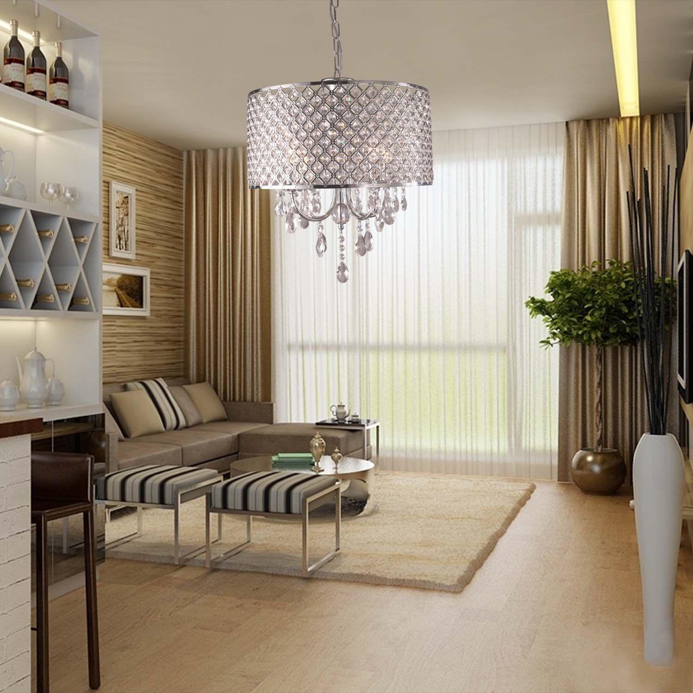 Lustres modernos com 4 luzes pingente de luz com gotas de cristal em rodada, luminária de teto para sala de jantar, quarto, sala de estar