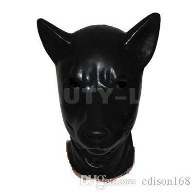 Hot sale sex product New male female 100% natural latex bondage wolf head mask eyepatch gagged headgear hood adult BDSM toy bed game set 210
