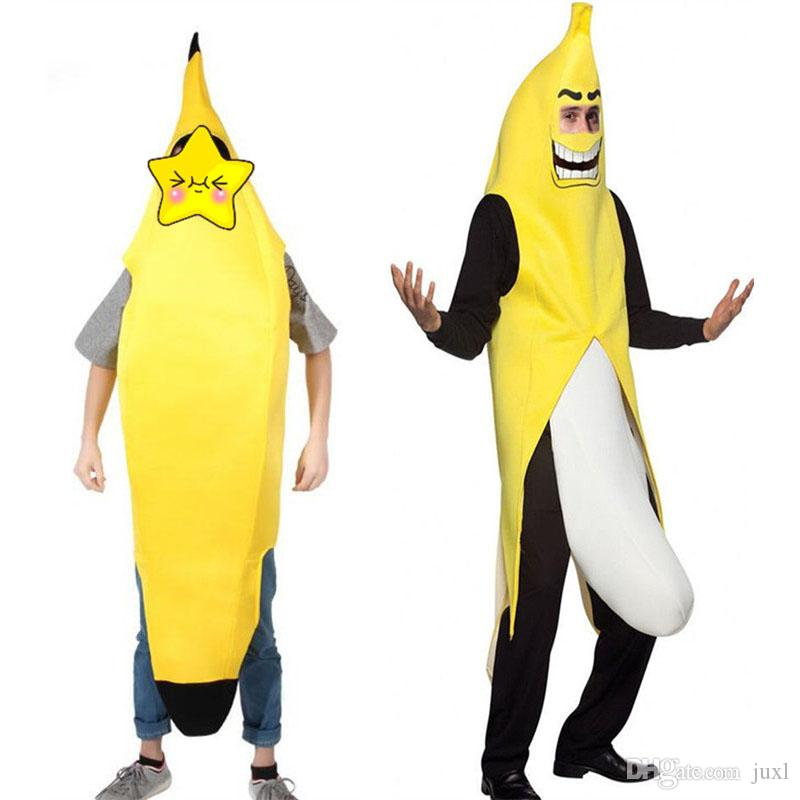 2017 Funny Men Women Yellow Banana Cosplay Costume Adults Fruits Outfits Halloween Carnival Fancy Dress Decor
