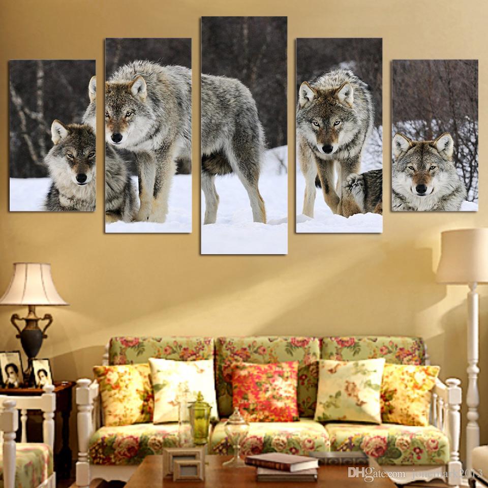 Framed HD Printed canvas art wolf snow wild animal painting livingroom decoration wall art /ny-2808