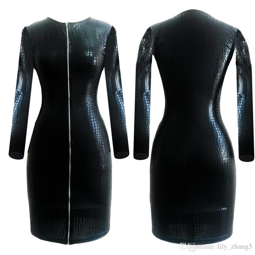 Plus Size BBW Dress women clothing Sexy Black Snakeskin Faux Leather Bandage Dress 2017 Summer New Zipper Bodycon dress