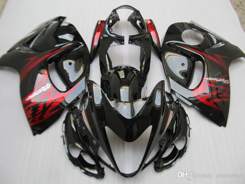 Enjeksiyon Kalıp Ücretsiz Özelleştirmek Suzuki GSXR1300 08 09 10 11-14 Kırmızı Siyah Periler Set GSXR1300 2008-2014 OT03