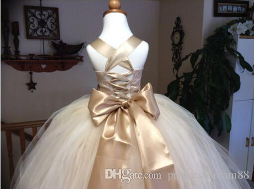 New Flower Girl Dresses with Flower Ball Gown Party Pageant Communion Dress for Little Girl Kids/Children Dress for Wedding