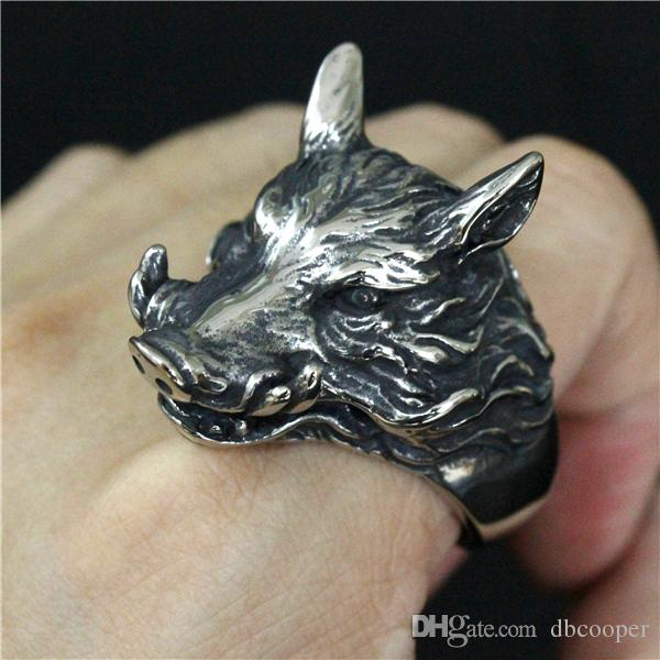 Size 8-13 Cool 316L stainless steel Jewelry Mens Cool Wolf Ring Punk Style Big Heavy Lycan Ring