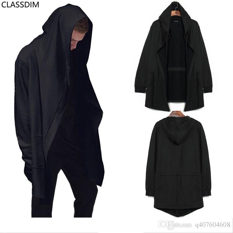 2018 Men'S Big Size Cardigan Hooded Sweater Men Fall Black Cloak ...