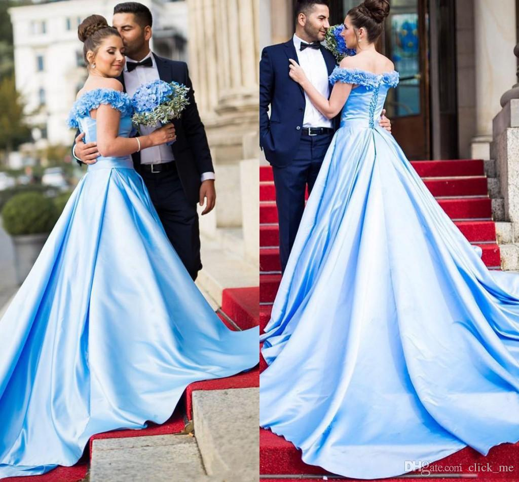 fa49c824081 Light Sky Blue Prom Dresses Long Off The Shoulder Handmade Flowers A Line  Satin Country Bridal Dress Back Lace Up Formal Evening Gowns Cream Prom  Dresses ...