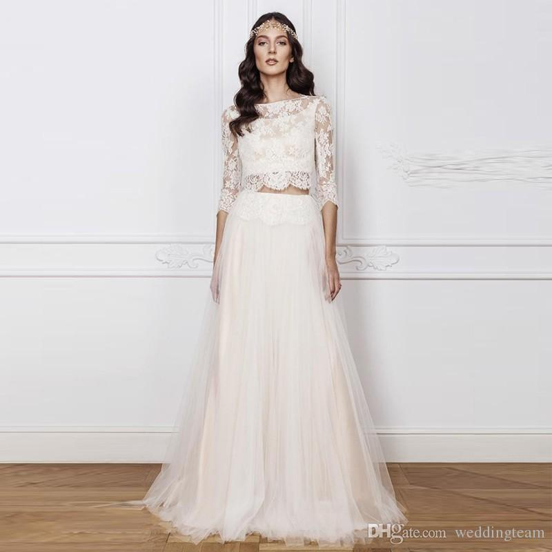 New Arrival Two Pieces Wedding Dresses Bateau Neck 3/4 Long Sleeve Tulle Tiered Skirt Beach Wedding Gown Lace Top Sweep Trian Boho Bride