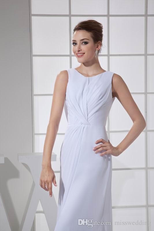 Nouveau Style Blanc En Mousseline De Soie Robe De Mariée Gaine Conception Jewel Décolleté Long Formelle Robe De Mariée Livraison Gratuite