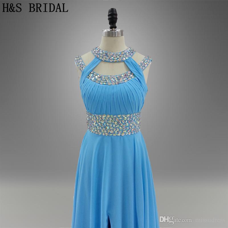Blue Beaded Chiffon Vestidos de fiesta largos Fiesta de niñas Vestidos de noche Corte delantero largo Una línea Vestidos formales 005