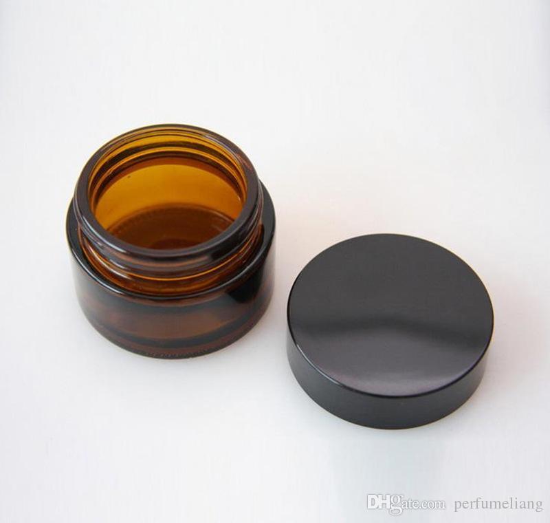 5 جرام 10 جرام 20 جرام 30 جرام البني العنبر الزجاج كريم جرة مع غطاء أسود التجميل جرة التعبئة لعينة زجاجة كريم العين F201749