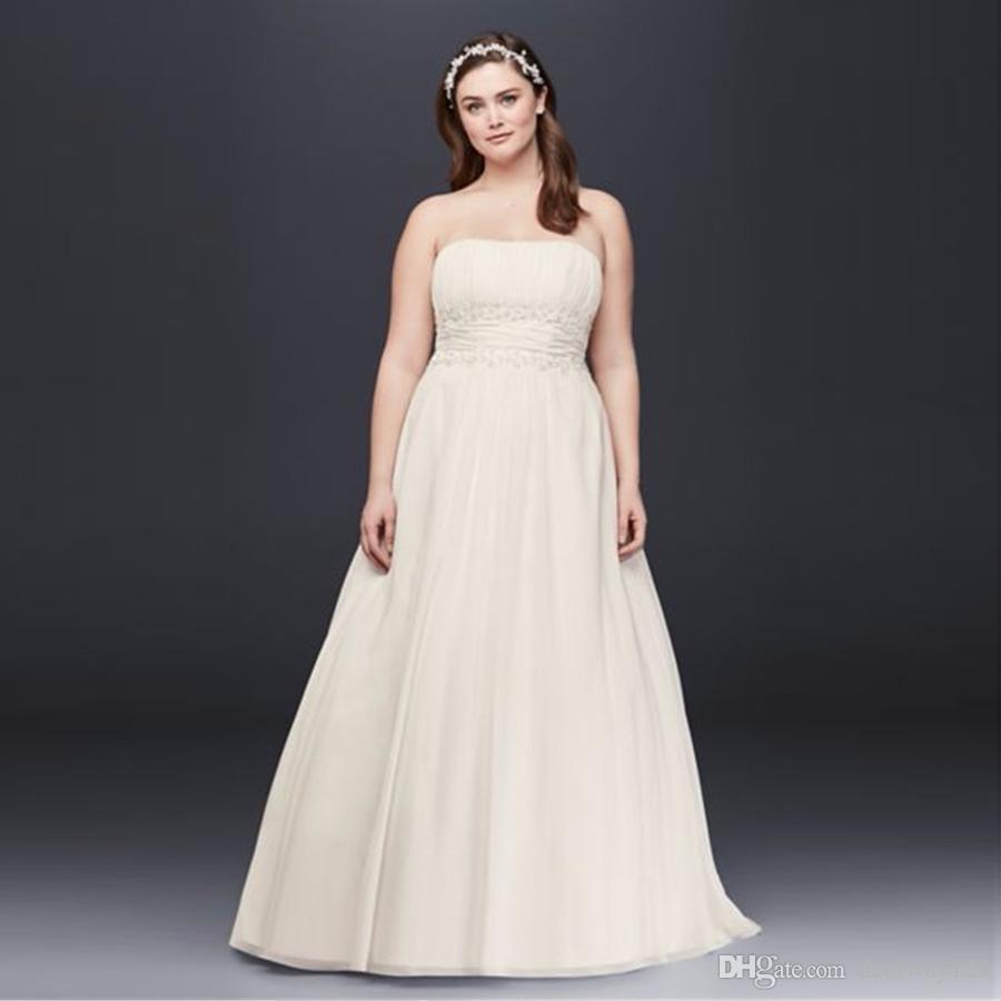 Discount Simple A Line Waist Plus Size Wedding Dress