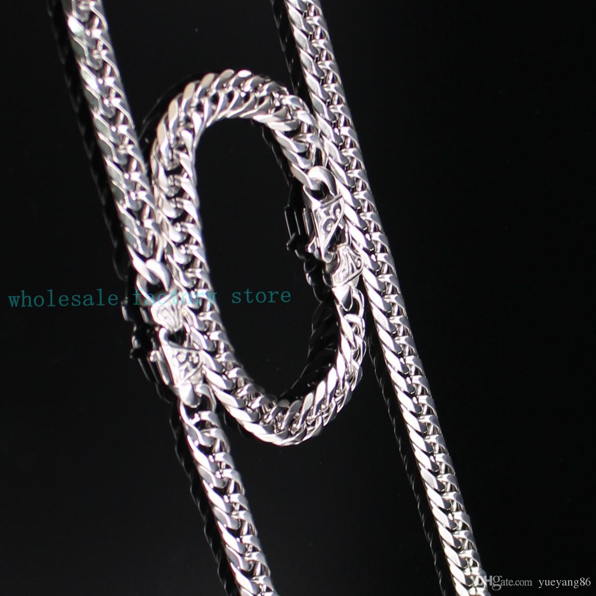 Ensemble de bijoux pour hommes en acier inoxydable Acier inoxydable 12mm Double lien Curb Chain 60cm Collier + 22cm Bracelet avec fermoir rétro