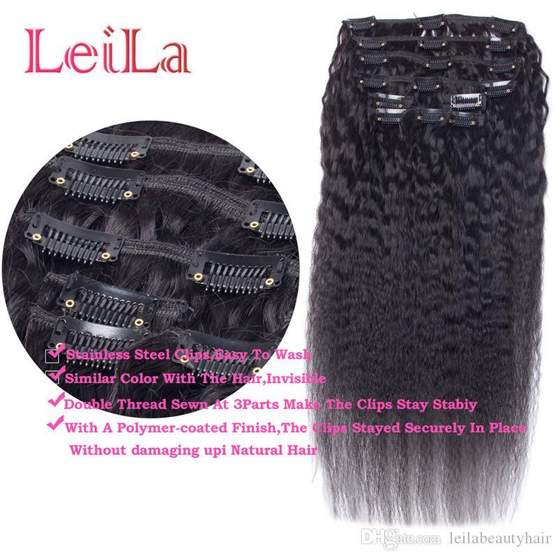 페루 인간의 머리카락 는 인간의 머리카락 확장에 변태 스트레이트 클립을 설정 자연 블랙 거친 인간의 머리카락 직물