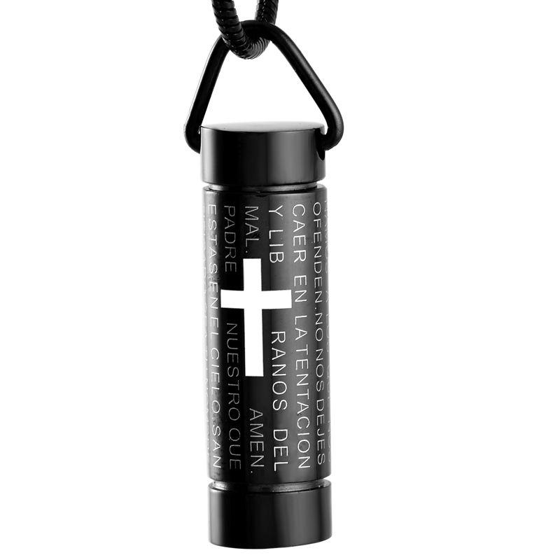 IJD2207 Black Plating Cylinder Stainless Steel Urn Pendant Necklace Cross Engraved Ashes Keepsake Cremation Necklace