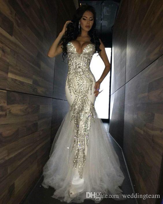 Abiti da sera sexy Abiti da sera scollo a cuore con paillettes abito formale maniche lunghe lunghezza tulle Prom Gowns