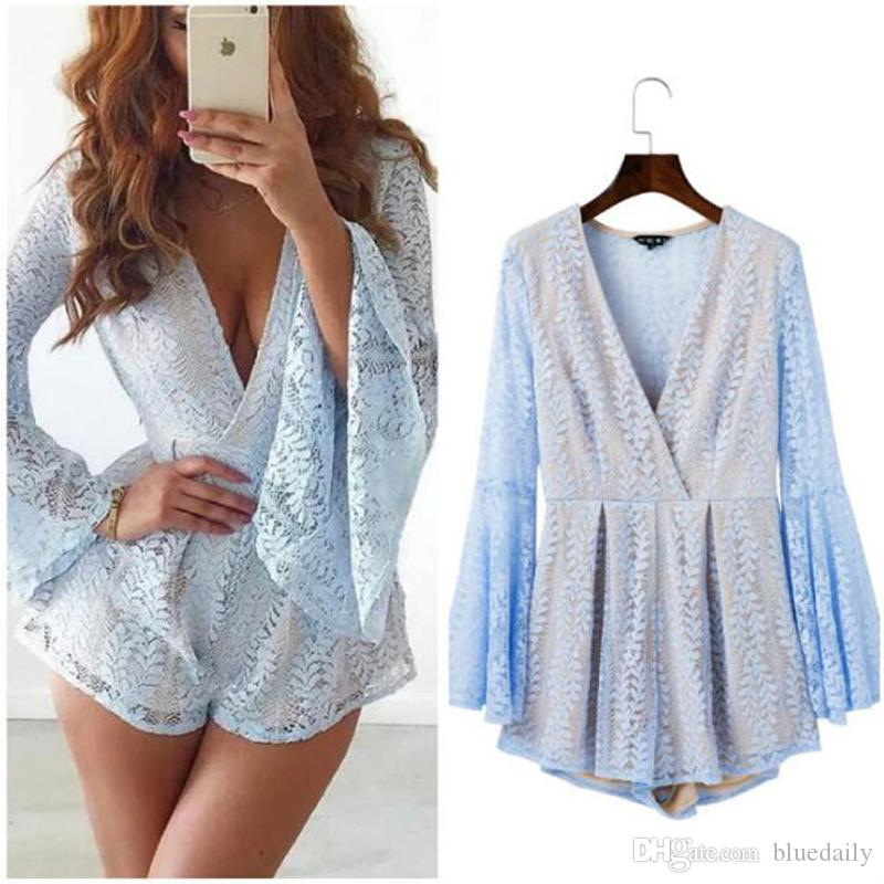 2018 Autumn Winter Style See Though Back Elegant Hollow Out Women Playsuits  Lace Long Sleeve Sexy Party Jumpsuits Short Rompers From Bluedaily, ... 6be32b9ff7