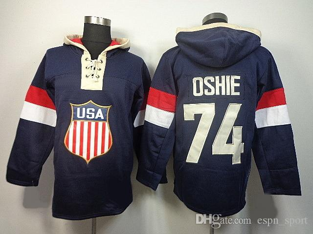 buy online 9fb21 a6e60 Hot Sale Mens 74 T. J. Oshie USA Best Quality Cheap Blue Embroidery Logos  Sweatshirts Ice Hockey Hoodies Accept Mix Order Size S-3XL