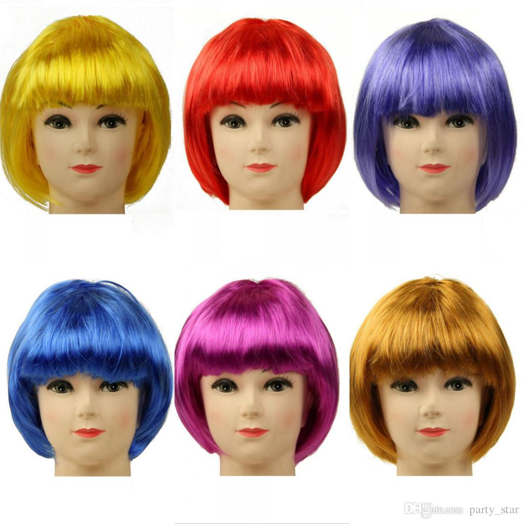 Party Universal Fashion Student Cosplay Color Wig Graduation Bar Club Performance Color Wig Decoration Short Color Wig Mix Order Allowed