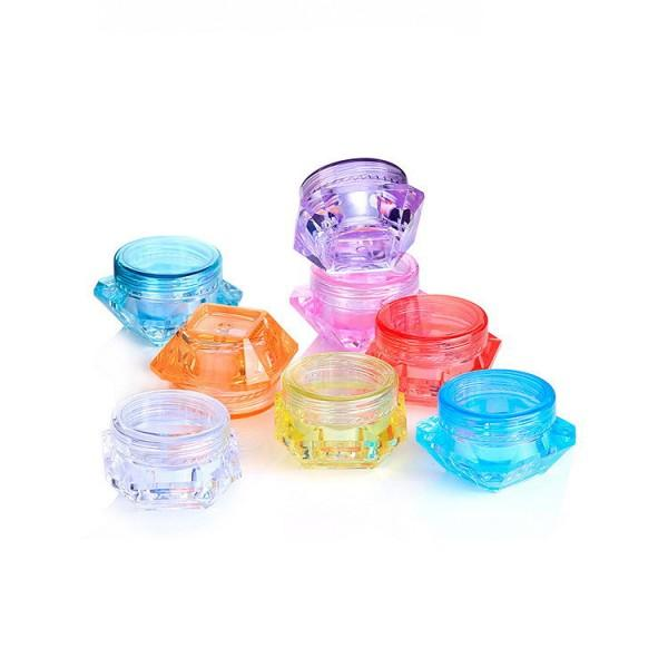 3 gramos 5 ml plástico contenedor contenedor de plástico forma de diamante es Mini olla vacía para sombra de ojos Nails Powder Beads Jewelry Cream cera