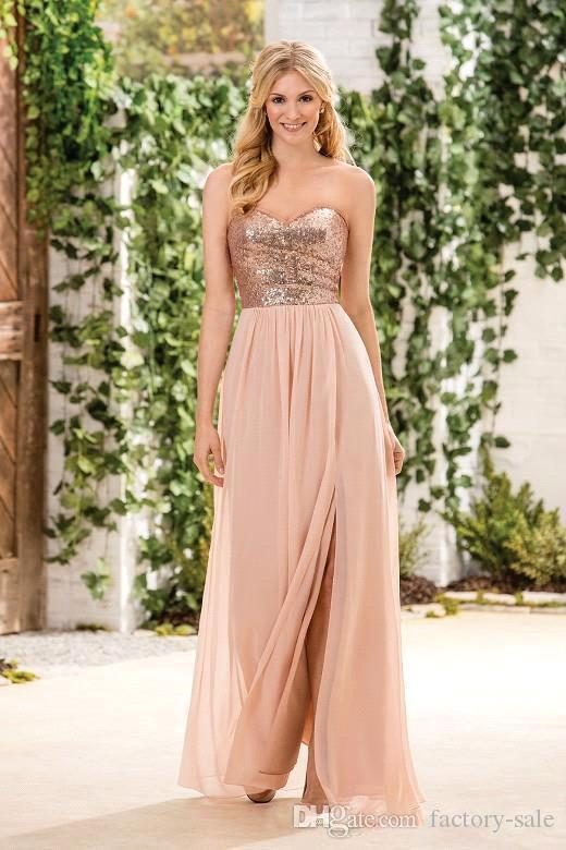 Günstige Rose Gold Pailletten Top Long Chiffon Strand Brautjungfernkleider Halter Backless A Line Straps Rüschen Blush Pink Trauzeugin Kleider