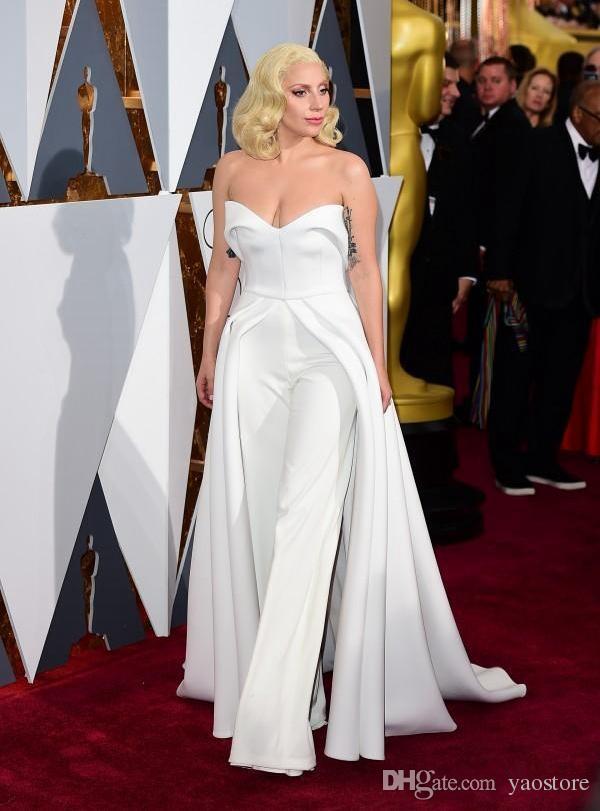 Unique 88th Oscar Lady Gaga Red Carpet Dresses 2017 White Pants ...