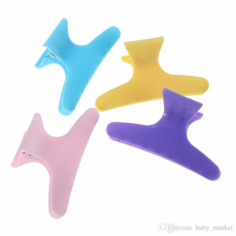 Salão de cabelo Garra Styling Ferramentas de Plástico Colorido Grampos de Cabelo Ferramenta de Cabeleireiro Seção de Borboleta Grampo Clamps.\