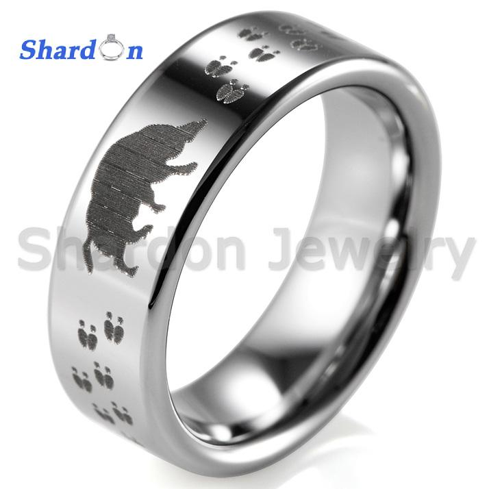 4cd34bf2e1c48 Shardon Hog Teacks Hunting Design Silver Pipe Men's Tungsten Ring Comfort  Fit Design His/Her Wedding Ring Promise Rings