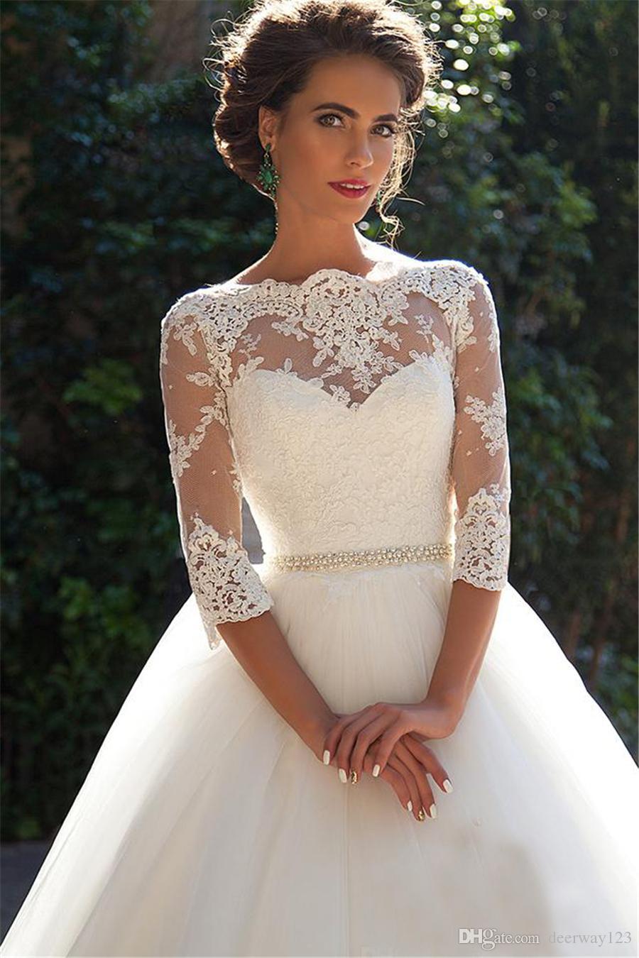 Bateau 3/4 mangas compridas pérolas nupcial Tulle Princesa baratos Bola Vestidos Plus Size País Vintage Lace Millanova 2020 vestidos de casamento