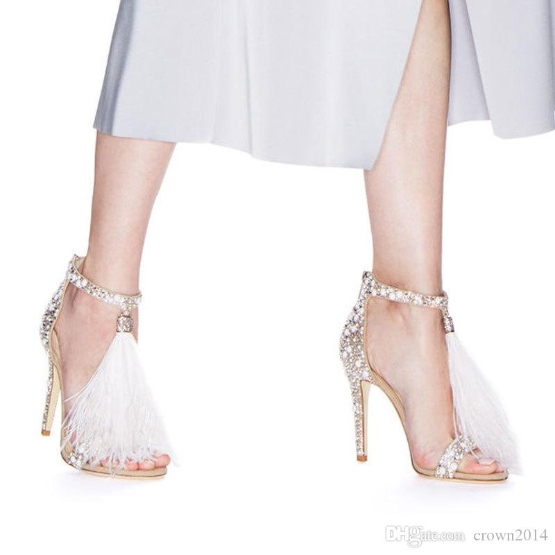 2019 Fashion Feather Wedding Shoes 4 inch High Heel Crystals Rhinestone Bridal Shoes With Zipper Party Sandals Shoes For Women No Logo