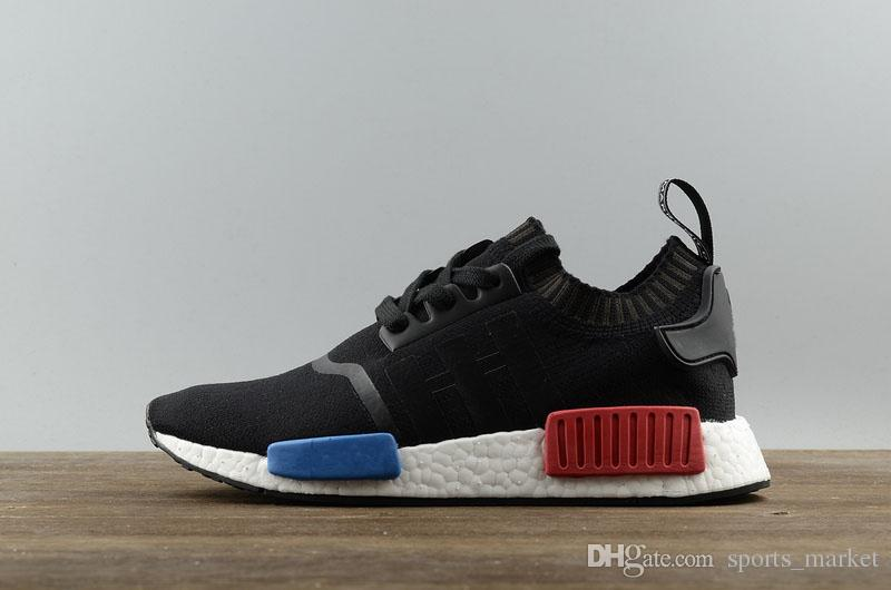 ADIDAS NMD R1 PK PRIMEKNIT TRI COLOR CORE BLACK WHITE