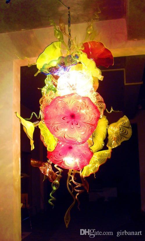 Modern Murano Flower Pendant Light Glass Plates Hanging LED Chandelier Handmade Blown Glass Art Chandelier Lighting