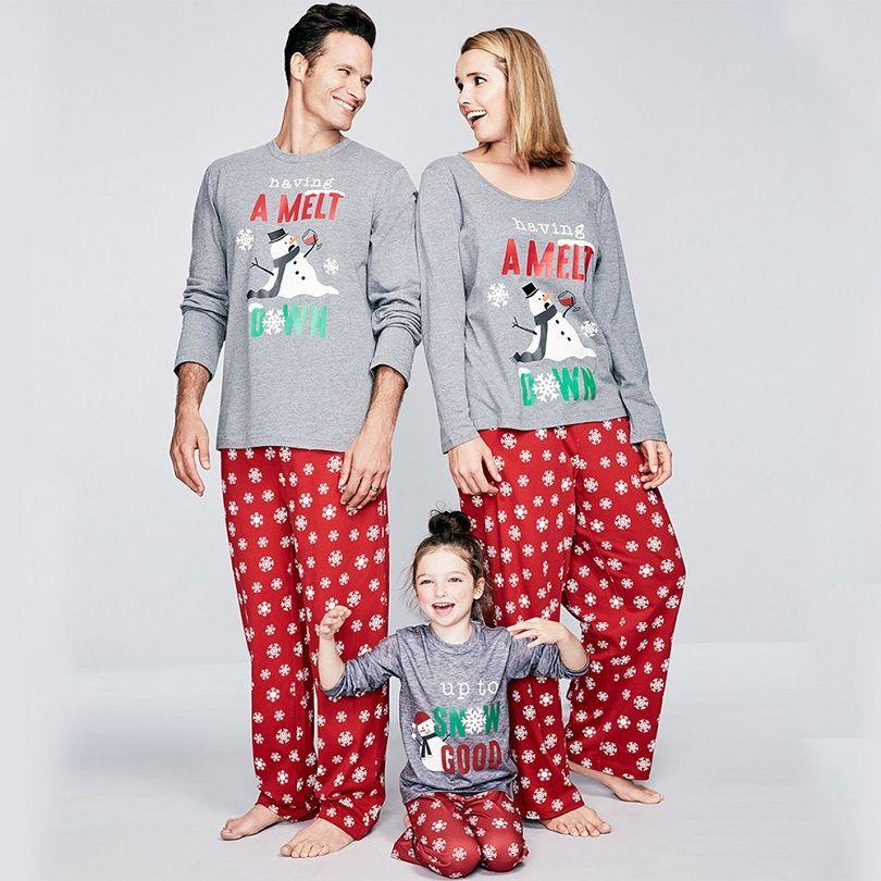 2018 New Year Family Matching Outfits Christmas Pajamas Snow Man ...