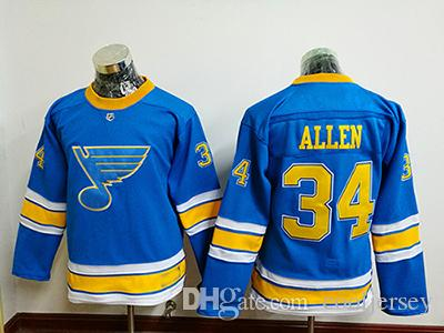 790391c18 2019 Wholesale Youth St. Louis Blues  34 Jake Allen Authentic Navy Blue  Third Jersey