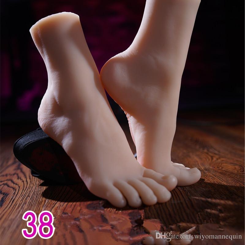 SIZE38 Gerçek Hissediyorum silikon Yapay Cilt ayak modeli, Gerçek Cep Pussy, Kadın Mastürbasyon oyuncaklar, adam için seks Ürünleri ayak