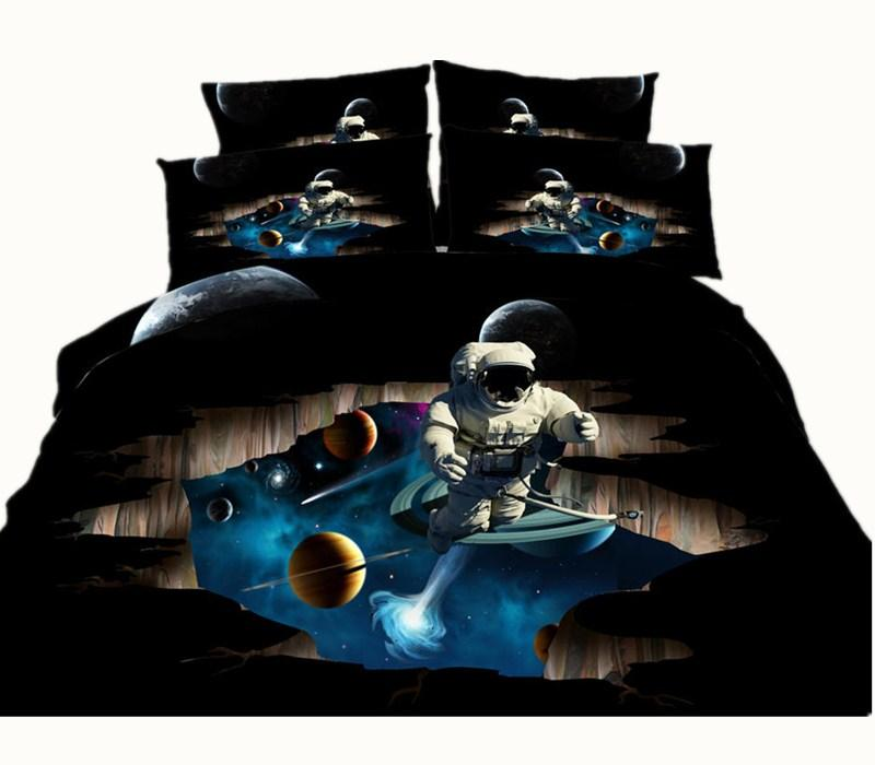 2 Styles Black Astronaut Planet 3D Printed High Quality Bedding Set Twin Full Queen King Size Bedspreads Bedclothes Duvet Covers Moon Galaxy