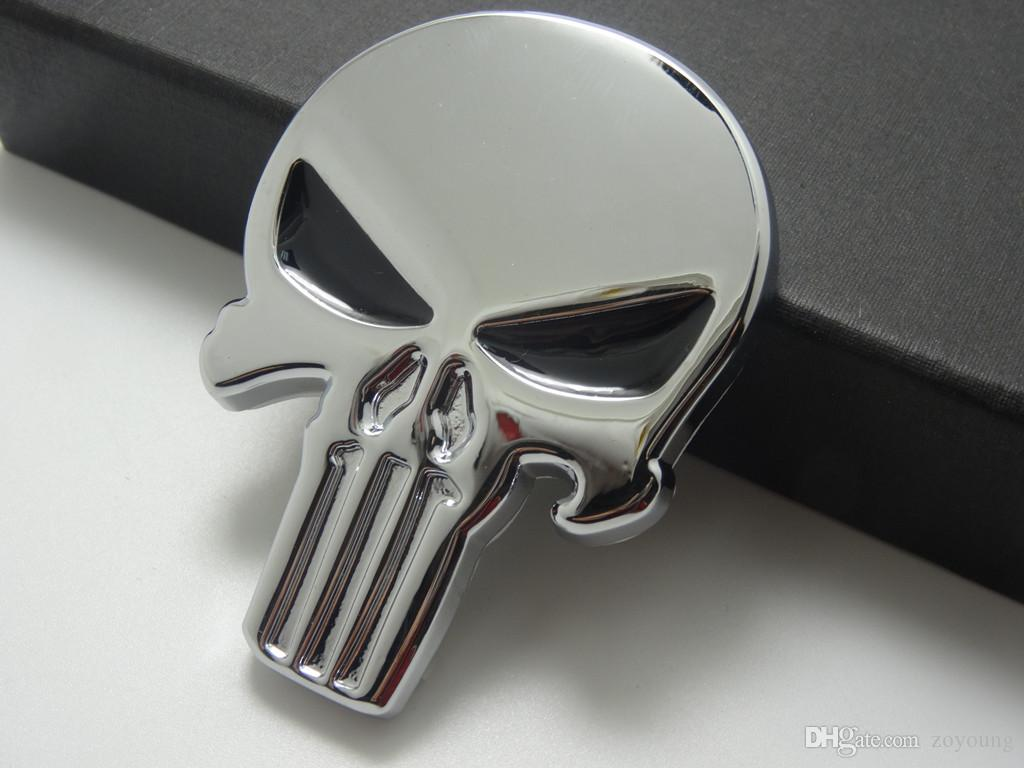 2019 3d punisher decal chrome car metal skull sticker car decals stickers silver from zoyoung 9 55 dhgate com