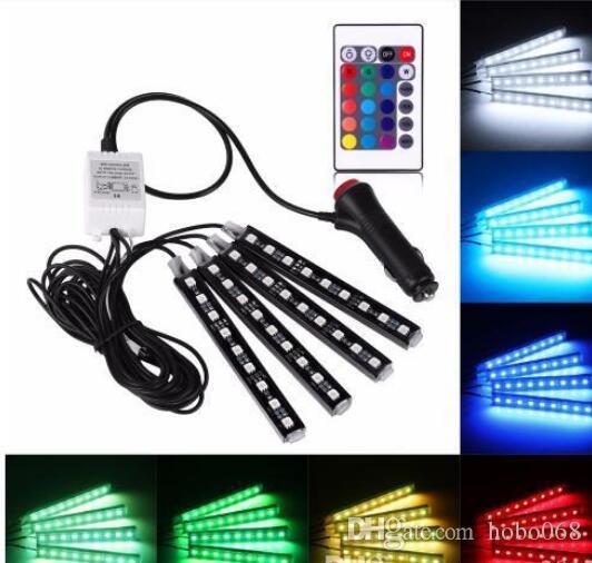 с 4шт автомобиля 12V RGB LED DRL Газа Свет 5050SMD Пульт дистанционного управления Декоративные гибкие светодиодные ленты Atmosphere лампы Kit Fog Lamp