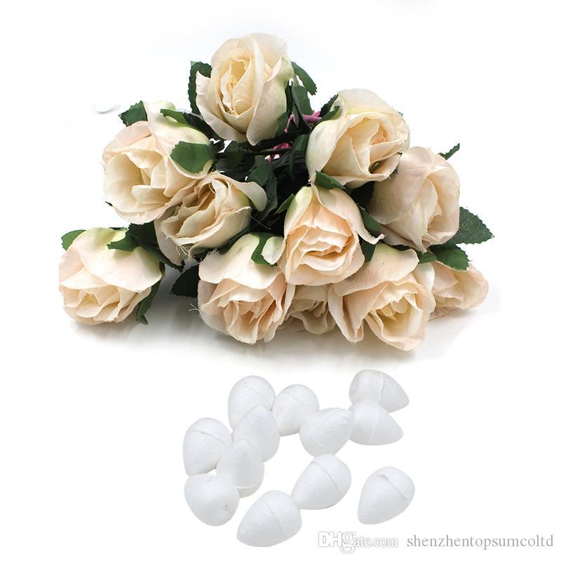 Venda quente Espuma Branca Natural Rose Bud Para Nylon Stocking Flor Acessórios 100 pçs / lote Flores Decorativas Home Decor