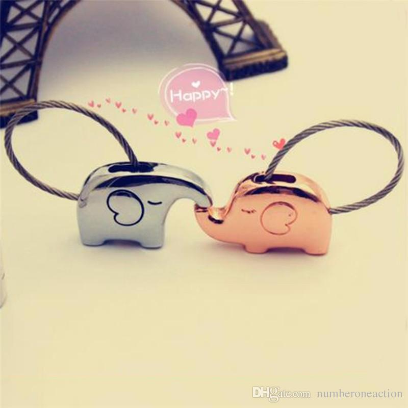 Fashion elephant for lovers gift bag pendant a couples key ring Trinket key chains car keychain chaveiro innovative Items